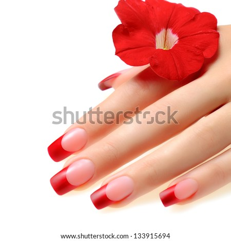 Red french manicure. - stock photo