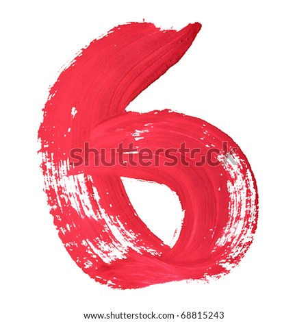 6 - Red handwritten digits over white background