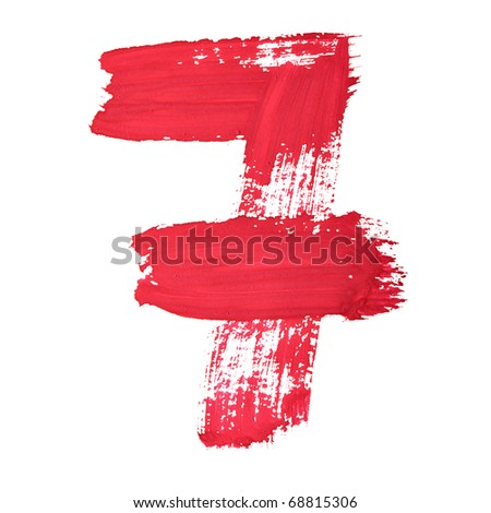 7 - Red handwritten digits over white background - stock photo