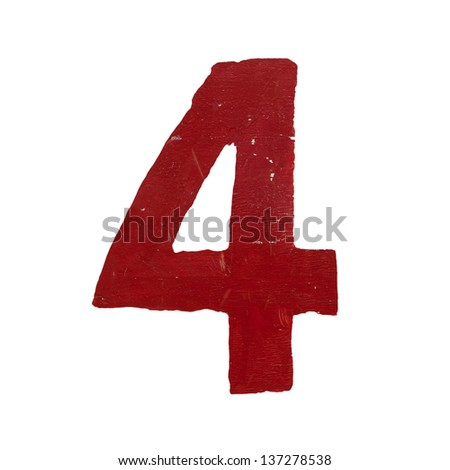 Red handwritten number four isolated - stock photo