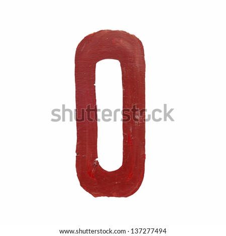 Red handwritten number zero isolated - stock photo