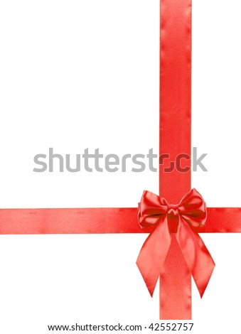 red holiday ribbon with bow isolated on white background