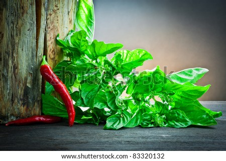,red hot chilli pepper and basil on wood, - stock photo