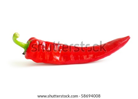 red hot pepper on a white - stock photo