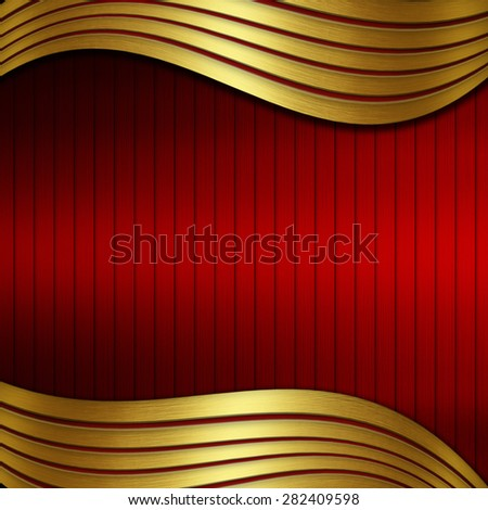 red metal background with gold curve and stripes - stock photo