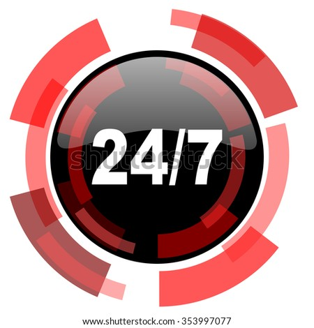 24/7 red modern web icon