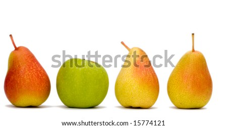 3 red pears in a line and one green  apple - stock photo