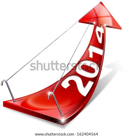 2014 Red Positive Arrow / Red arrow with year 2014 tending upwards, the concept of economic success - stock photo
