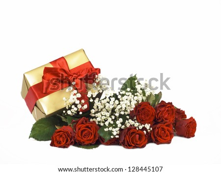 red roses and gift box isolated on white background