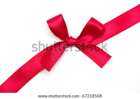 red satin ribbon on white shallow dof - stock photo