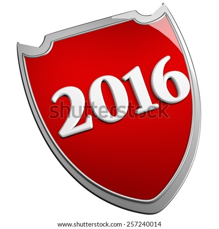2016 red shield, isolated over white, 3d render - stock photo