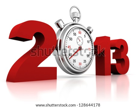 2013 red sign with stopwatch on a white background - stock photo