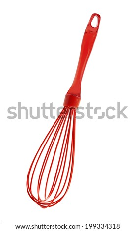 Red Silicone Wire Whisk isolated on white background - stock photo