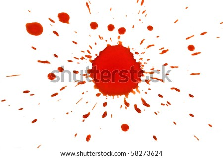 red spot with splashes on white surface - stock photo