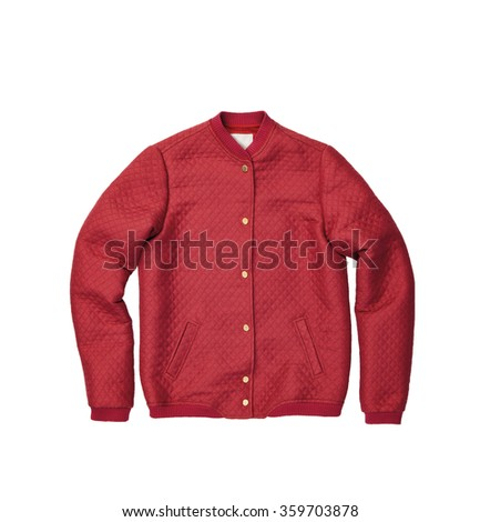 red sweater isolated on white background - stock photo