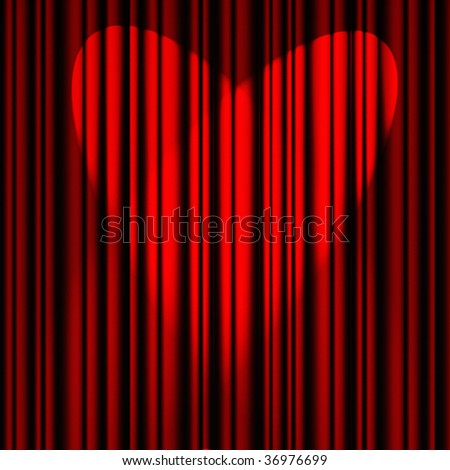 red theater curtain with a light heart-shaped