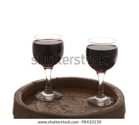 red wine and glass and wine-cask - stock photo