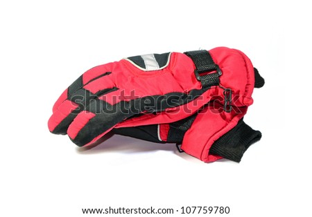 red winter gloves isolated on white - stock photo