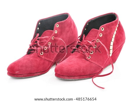 Red woman boots isolated on white background