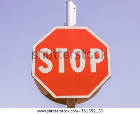 Regulatory signs, Stop traffic sign over the blue sky vintage