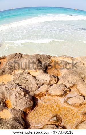 relax near sky in oman coastline sea ocean  gulf rock and beach  salt - stock photo