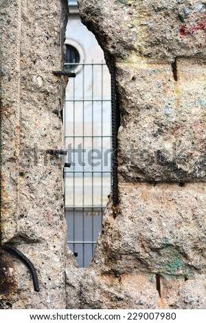 Remains of the Berlin Wall in the city center of Berlin - stock photo