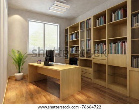 Render Interior Of Luxury Classic Study Room Part 66