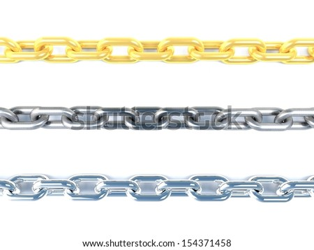 render of three type of chain material on white