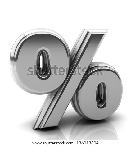 Render silver percentage symbol in 3d on white background - stock photo