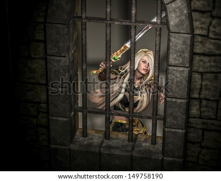 rendering of a female warrior trapped in a fortress as illustration