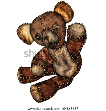rendering of an old teddy bear as illustration