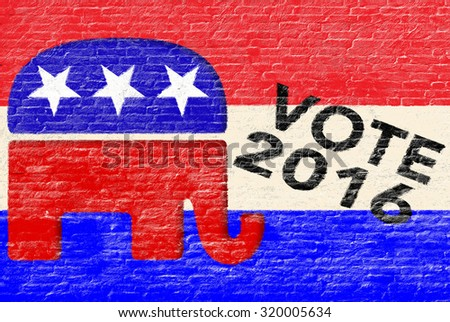 2016 Republican party elections banner on brick wall - stock photo