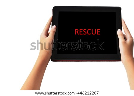 """ RESCUE "" words in red  color on tabled in boy hands on black background."