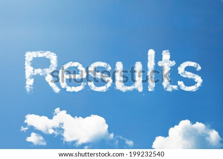 """""""Results"""" a cloud word on sky - stock photo"""