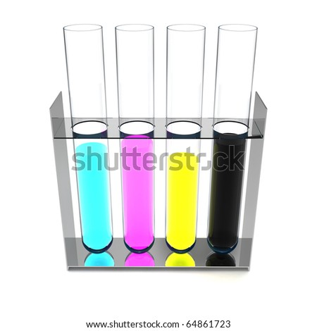 4 retorts with CMYK colour inside isolated on white