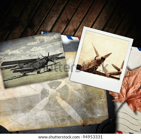 Retro aviation, vintage background - stock photo