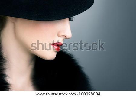 Retro beautiful woman - stock photo