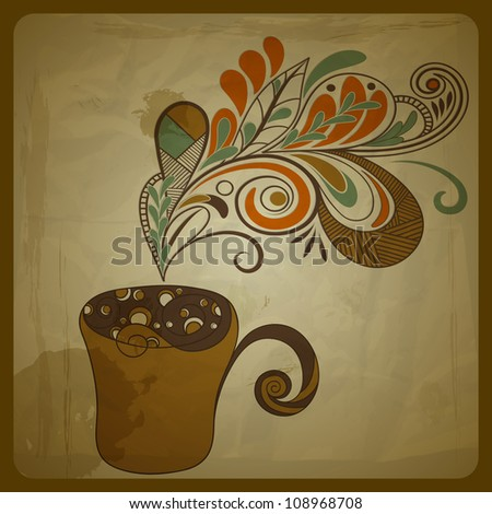 retro concept composition with stylized cup of coffee on crumpled paper texture