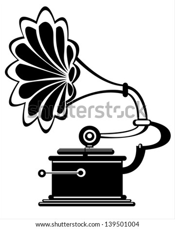 retro gramophone on white background
