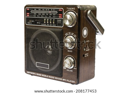 Retro  look radio mp3 player on white