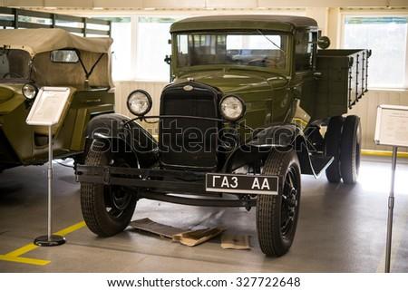 Retro military vehicles.Exhibition of vintage cars CEN President of Ukraine Viktor Yanukovych. Mezhyhiria. Ukraine 22.08.2015 - stock photo
