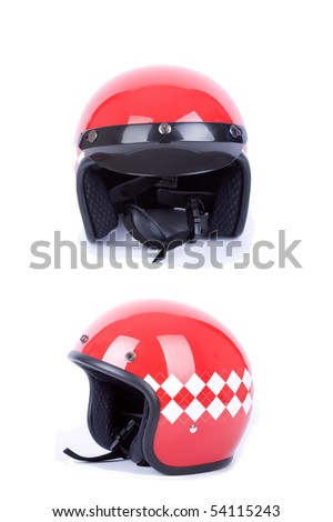 retro motorbike helmets on white - stock photo