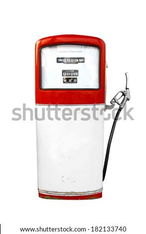 retro red oil pump - stock photo
