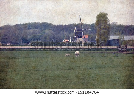 Retro style image of rural landscape, sheep in the meadow - stock photo
