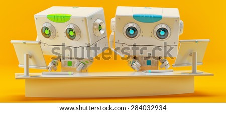 Retro styled robotic toy with square head / Cute little robot toy - stock photo