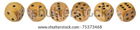6 Retro wooden dice, all 6 numbers in a row - stock photo