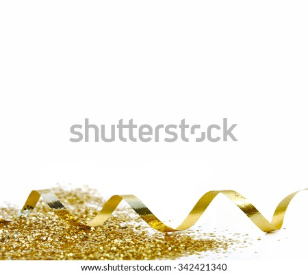 ribbon and golden confetti on white background - stock photo