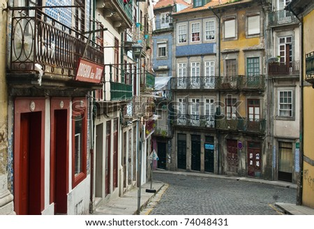 """Ribeira"" district, old town of Porto, Portugal - stock photo"