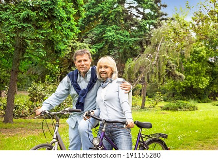 Riding bicycle, healthy lifestyle fun concept - stock photo