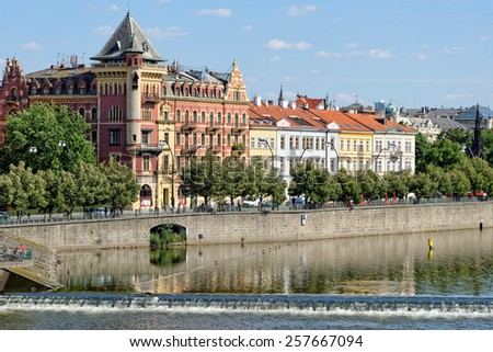 Right bank of the river Vltava in Prague, Czech Republic. - stock photo